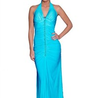 Beautifly Sexy V Neck Hand Beaded Stretchy Knit Halter Evening Dress
