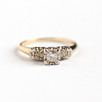 Vintage 14K Yellow & White Gold Diamond 1/5 CTW Ring - 1940s Size 7 1/2 Two Tone Engagement Wedding Bridal Promise Heart Design Fine Jewelry