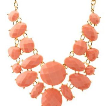 Coral Faceted Stone Bib Necklace by Charlotte Russe