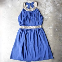 Stepping Out Pleated Halter Dress with Gold Sequin in Blue