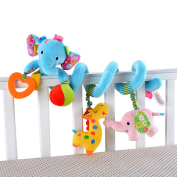 Newborn Baby Stroller Toys Lovely Elephant Lion Model Baby Bed Hanging Toys Educational Baby Rattle Toys