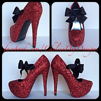 Red Glitter Platform Pumps, Black Bow Prom High Heels