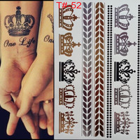 2017 Promotion Rushed Styles Metallic Tattoo Flash Tattoos Silver Metalic Temporary Gold And Necklace Imperial Crown Disposable