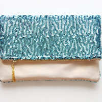 BLUE TOPAZ/ Natural leather & Sequin clutch - Ready to Ship- OOAK