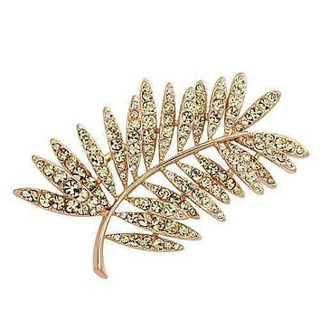 Vintage Brooches LO2830 Flash Rose Gold White Metal Brooches with Crystal