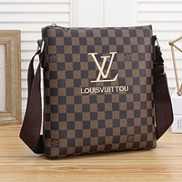 LV Bag Louis Vuitton Crossbody Bag Plaid Shoulder Bag Recangle Coffee Tartan