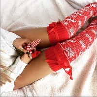 Winter Warm Women Cable Knit Extra Long Boot Socks Over Knee Thigh High School Girl Stocking