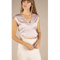 Blush Satin Side Tie Top