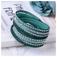 Trendy Crystal and Stud Accented Turquoise Leather Wrap Bracelet