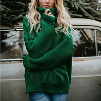Loose Turtleneck Knit  Top Sweater Pullover