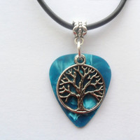 Turquoise Guitar pick necklace with tree of life charm