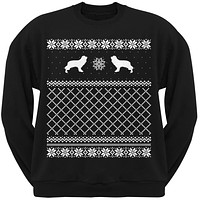Cavalier King Charles Spaniel Black Adult Ugly Christmas Sweater Crew Neck Sweatshirt