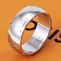 LV Louis Vuitton new personality beveled lettering fashion couple men and women ring Silvery