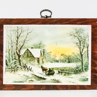 Winter Scene on Wood - Wall Hanging - Picture