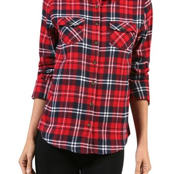 Casual Cowboy Plaid & Check Roll Up Long Sleeve Front Pocket Button Down Blouse