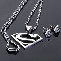Fashion Punk Stainless Steel Superman Sign Necklace and Stud Earrings Set = 1946302340