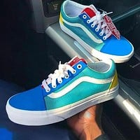 VANS shoes old school skateboard shoes canvas shoes Lake blue green yellow sneakers-1