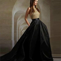 Custom made gold lace with high quality black stain backless prom dresses for teenage wear 2016 vestidos de gala fast shipping