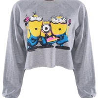 Romwe Women's The Minion of Despicable Me Patterns Long Sleeves Cotton T-shirts-Grey-One Size