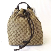 NEW WOMEN'S GUCCI GG CANVAS PULL DRAW STRING BACKPACK BOOKBAG BAG 449175