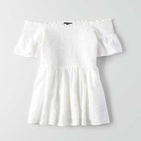 AEO Off-The-Shoulder Short Bell Sleeve Top , White