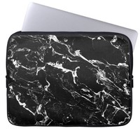 Black and white modern marble pattern laptop computer sleeve