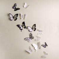 Crystal 18Pcs 3D Butterflies DIY home decor wall stickers for kids room Christmas party decoration kitchen refrigerator decal