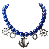 Blue Pearl Anchor Pendant Necklace