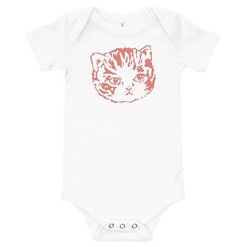 Infant/Baby Bodysuit Onesuit Cute Kitten Face | Adorable Cat Illustration | Salmon Peach on White, Grey, Yellow or Pink