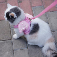 Adorable Comfort Cat & Dog Pet Safety Walking Vest Harness + Matching Lead Leash Angel Wings Costume Lace Peals Design 15