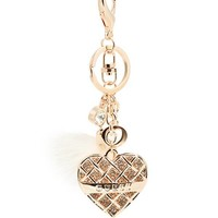 Rose Gold-Tone Caged Heart Keychain at Guess