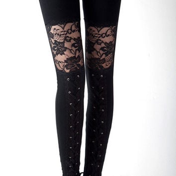 Black Floral Lace Cut-Out with Cross Lace Accent Leggings