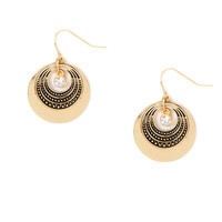 Textured Disc Drop Earrings with Crystal Accent