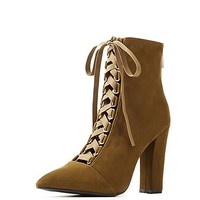 Bamboo Pointed Toe Lace-Up Booties   Charlotte Russe