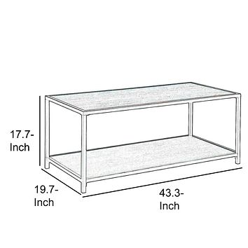 Iron Frame Coffee Table with Wooden Top and Bottom Shelf, Brown and Black By Casagear Home
