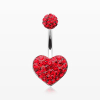 zzz-Multi-Gem Sparkle Heart Multi-Gem Belly Button Ring