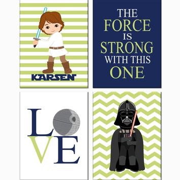 Personalized Star Wars Nursery Decor Set of 4 Prints, The Force Is Strong With This One, Luke Skywalker and Darth Vader in Sage, Navy and White