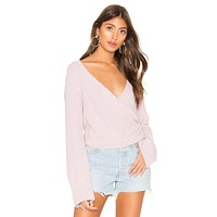 Free People Sensual Wrap Sweater Purple