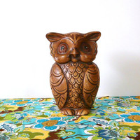 vintage owl figurine, statue, woodland, mid century, pottery, kitsch figurines, 60s, owls, mod, home decor, birds, brown, hippie, nature