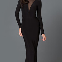 Black Floor Length Long Sleeve Prom Dress with Sheer Back and Neckline
