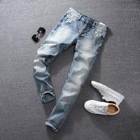 Summer Light Blue Color Fashion Mens Jeans High Quality Slim Fit Ripped Jeans For Men Brand Clothing Italian Style Stretch Jeans