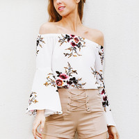 White Floral Off Shoulder Tops