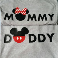 Mouse silhouette Mommy Daddy couple's Tshirts gray