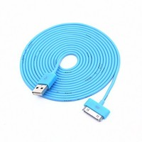 Colorful 30pin USB Data Sync and Charge Cable Compatible with Iphone 4/4s, Iphone 3g/3gs, Ipod (Blue ,10ft Long)