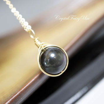 14k Gold Filled Obsidian Necklace - Rainbow Obsidian Necklace Wire Wrapped  Single Bead Simple Black Obsidian Necklace