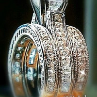 Victoria Wieck Engagement Princess cut  6mm Topaz Simulated Diamond 14KT White Gold Filled 3 Wedding Band Ring Set Sz 5-11 Gift