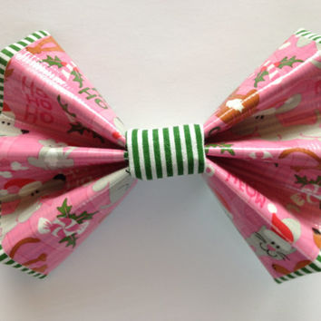 Pink Christmas Pet Duct Tape and Green and White Striped Fabric Hair Bow