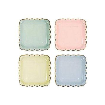 Assorted Pastel Scalloped Large Plates