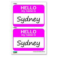 Sydney Hello My Name Is - Sheet of 2 Stickers