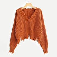 Frayed Trim Drop Shoulder Sweater